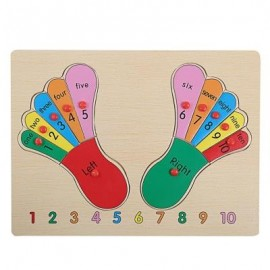 image of DIY PUZZLE FEET WOODEN BUILDING BLOCK INTELLIGENT JIGSAW TOY (COLORMIX) -