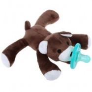 image of CUTE INFANT ANIMAL SILICONE WUBBANUB CUDDLY SOFT PLUSH TOY (DEEP BROWN) -