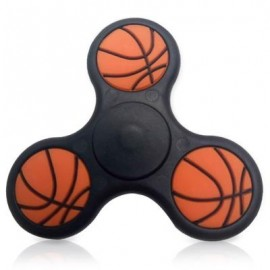 image of STRESS RELIEF TOY BASKETBALL PATTERN TRIANGLE FIDGET FINGER SPINNER (BLACK) -