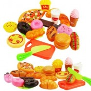 image of CUTTING FRUIT VEGETABLE PRETEND PLAY CHILDREN KID EDUCATIONAL TOY SET FOR KITCHEN COOKING (COLORMIX) 0