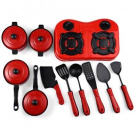 image of 11PCS SIMULATION KITCHEN COOKWARE PRETEND ROLE PLAY TOY FOR CHILDREN (RED) -