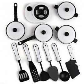 image of 11PCS SIMULATION KITCHEN COOKWARE PRETEND ROLE PLAY TOY FOR CHILDREN (WHITE) -