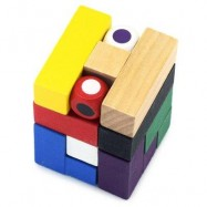image of MAGIC CUBE STYLE PUZZLE EDUCATIONAL WOODEN INTERLOCK TOY BIRTHDAY GIFT (COLORMIX) -