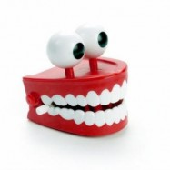image of FUNNY BIG TOOTH CLOCKWORK TOY CUTE FLASHING TEETH BITE FINGER NOVELTY JOKES TOYS (RED) 0
