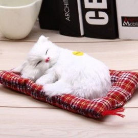 image of SIMULATION SLEEPING CAT CRAFT TOY WITH SOUND (WHITE) -