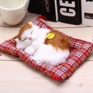 image of SIMULATION SLEEPING CAT CRAFT TOY WITH SOUND (YELLOW WHITE) -