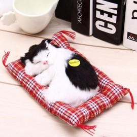 image of SIMULATION SLEEPING CAT CRAFT TOY WITH SOUND (BLACK WHITE) -