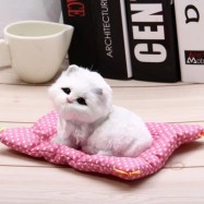 image of SIMULATION SLEEPING CAT CRAFT TOY WITH SOUND (SEAT CAT WHITE) -