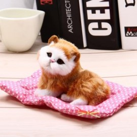 image of SIMULATION SLEEPING CAT CRAFT TOY WITH SOUND (SEAT CAT YELLOW) -