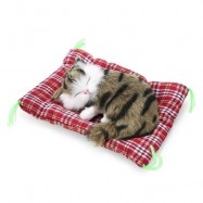 image of SIMULATION SLEEPING CAT CRAFT TOY WITH SOUND (GRASS COLOR PRINTING) -
