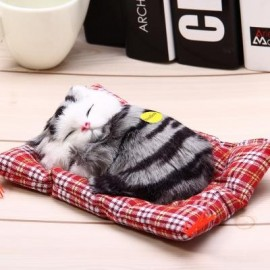 image of SIMULATION SLEEPING CAT CRAFT TOY WITH SOUND (TEAL PRINTING) -