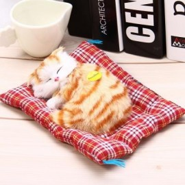 image of SIMULATION SLEEPING CAT CRAFT TOY WITH SOUND (YELLOW PRINTING) -