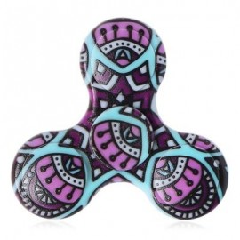 image of FIDDLE TOY PLASTIC MANDALA PATTERNED FIDGET SPINNER (PURPLE) -