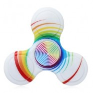 image of ANTI-STRESS TOY PLASTIC PATTERNED FIDGET SPINNER (WHITE) -