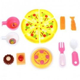 image of PLASTIC KITCHEN PARTY SIMULATION FOOD COOKING CUTTING PRETEND PLAY TOY SET FOR KIDS WITH PIZZA SUSHI (COLORMIX) -