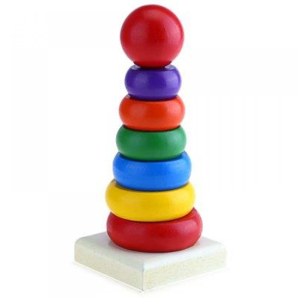 KIDS COLORFUL WOODEN CIRCLES STACKING RINGS BUILDING BLOCK SET INTELLIGENCE TOY GIFT (COLORMIX) -