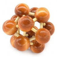 image of CLASSIC SPACE BALL PUZZLE EDUCATIONAL WOODEN INTERLOCK TOY BIRTHDAY GIFT (BROWN) -