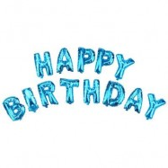 image of ALPHABET LETTERS ALUMINUM FOIL BALLOONS HAPPY BIRTHDAY PARTY DECORATION (BLUE) -