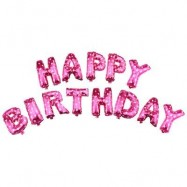 image of ALPHABET LETTERS ALUMINUM FOIL BALLOONS HAPPY BIRTHDAY PARTY DECORATION (PINK) -