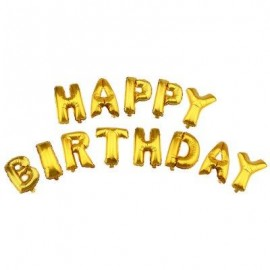 image of ALPHABET LETTERS ALUMINUM FOIL BALLOONS HAPPY BIRTHDAY PARTY DECORATION (GOLDEN) -