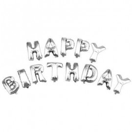 image of ALPHABET LETTERS ALUMINUM FOIL BALLOONS HAPPY BIRTHDAY PARTY DECORATION (SILVER) -