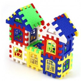 image of PLASTIC HOUSE DIY BUILDING BLOCKS INTELLIGENT DEVELOPMENTAL (COLOURMIX) 23.00 x 17.50 x 1.10 cm