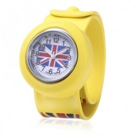 image of KIDS QUARTZ WATCH BRITISH FLAG PATTERN WRISTWATCH (YELLOW) 0