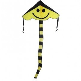 image of 1.6M CARBON STEEL SMALL SMILE STYLE FLYING KITE OUTDOOR SPORTS GAME (YELLOW) -