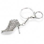 image of ALLOY KEY CHAIN HIGH HEEL SHOE HANGING PENDANT KEYRING - 4.3 INCH (SILVER) -