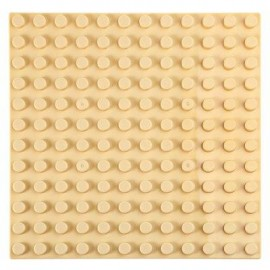 image of 192 X 192MM SMALL BUILDING BLOCK BASE PLATE KIDS EDUCATIONAL TOY (BEIGE) -