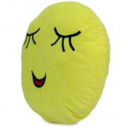image of 33CM EMOJI SMILEY EMOTION ROUND THROW PILLOW STUFFED PLUSH SOFT TOY (YELLOW) ANGRY