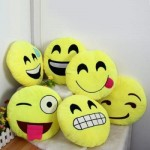 33CM EMOJI SMILEY EMOTION ROUND THROW PILLOW STUFFED PLUSH SOFT TOY (YELLOW) ANGRY