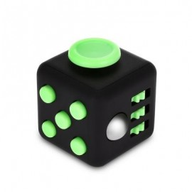 image of FIDGET MAGIC CUBE STYLE STRESS RELIEVER PRESSURE REDUCING TOY FOR OFFICE WORKER (BLACK AND GREEN) -