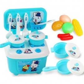 image of CHILDREN KITCHEN SET PRETEND PLAY CUT TOY UTENSILS 9-30PCS FRUIT VEGETABLES PLASTIC KIDS COOK FOOD EDUACATION GAME (BLUE) 0
