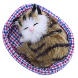 image of LOVELY SIMULATION SOUNDING SLEEPING CAT PLUSH TOY WITH NEST BIRTHDAY CHRISTMAS GIFT (DUN) -