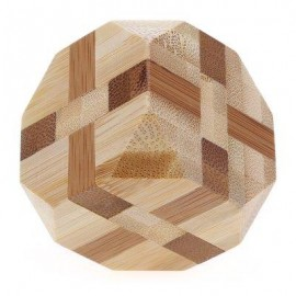 image of 3D INTERLOCKING TETRAKAIDECAHEDRON WOODEN BURR PUZZLE KONG MING IQ BRAIN TEASER INTELLIGENT TOY (COLORMIX) -