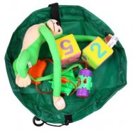 image of PORTABLE BABY PLAY MAT TOY FAST CLEANUP STORAGE BAG OUTDOOR FLOOR BLANKET 45CM (GREEN) -