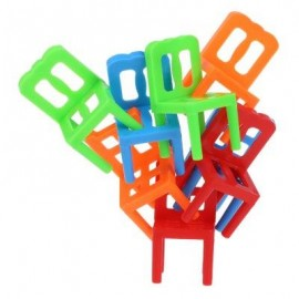 image of 18PCS STACKING CHAIRS BLOCKS BALANCING TRAINING TABLE GAME TOY (COLORMIX) -