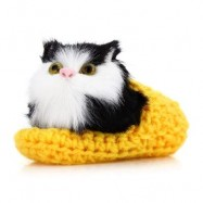 image of LOVELY SIMULATION SOUNDING CROUCHING CAT PLUSH TOY WITH SLIPPER NEST BIRTHDAY CHRISTMAS GIFT (DEEP YELLOW) -