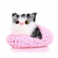 image of LOVELY SIMULATION SOUNDING CROUCHING CAT PLUSH TOY WITH SLIPPER NEST BIRTHDAY CHRISTMAS GIFT (PINK) -