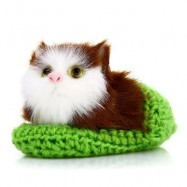 image of LOVELY SIMULATION SOUNDING CROUCHING CAT PLUSH TOY WITH SLIPPER NEST BIRTHDAY CHRISTMAS GIFT (APPLE GREEN) -