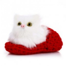 image of LOVELY SIMULATION SOUNDING CROUCHING CAT PLUSH TOY WITH SLIPPER NEST BIRTHDAY CHRISTMAS GIFT (DEEP RED) -
