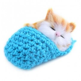 image of LOVELY SIMULATION SOUNDING SLEEPING CAT PLUSH TOY WITH SLIPPER NEST BIRTHDAY CHRISTMAS GIFT (LAKE BLUE) -