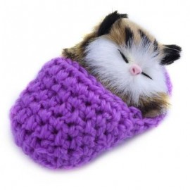 image of LOVELY SIMULATION SOUNDING SLEEPING CAT PLUSH TOY WITH SLIPPER NEST BIRTHDAY CHRISTMAS GIFT (PURPLE) -