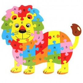 image of WOODEN LION ENGLISH LETTERS PUZZLE GAME EDUCATIONAL TOY KIT FOR KIDS (COLORMIX) 0