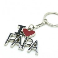 image of CREATIVE I LOVE PAPA WORD PLATE PENDANT KEY CHAIN (BLACK WITH RED) 0