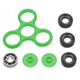 image of DIY HOMOCHROMY TRILATERAL PATTERN ABS HAND SPINNER FINGER TOY (GRASS GREEN) BLACK IRON