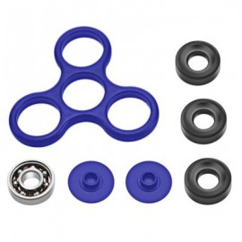image of DIY HOMOCHROMY TRILATERAL PATTERN ABS HAND SPINNER FINGER TOY (BLUE) BLACK IRON
