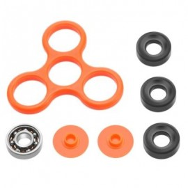 image of DIY HOMOCHROMY TRILATERAL PATTERN ABS HAND SPINNER FINGER TOY (ORANGE) BLACK IRON