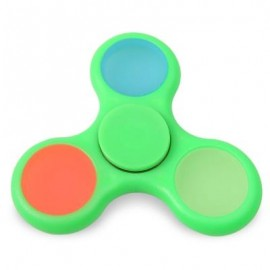 image of GLOW IN THE DARK TRI FIDGET TOY HAND SPINNER (GREEN) 8*8*1.2CM